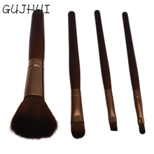 Graceful 4PCS Wooden Handle + Nylon Hair Basic Makeup Brush For Powder Fundation Popular Brown Cosmetic Brushes Sets&Kits JUN8