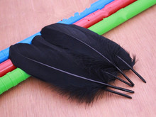 500pcs/lot!15-20cm long black Goose Feathers,Hat Trimming,Feathers for Millinery,Fascinators&Crafts(China)
