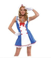 Lady New Sexy Halloween Costume Women Luru Navy Sailor Suit Cosplay Costume Girls Night Clube Make Up Party Dress B-4089