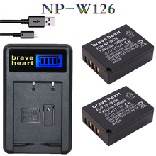 2Pcs NP-W126 NP W126 Battery + LCD USB Charger For Fuji HS50 HS35 HS33 HS30 EXR XA1 XE1 X-Pro1 XM1 X-T10 XT1 XE1 XE2 XA1