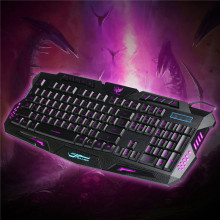 Russian Keyboard Red/Purple/Blue Backlit LED Wired Keyboard Computer Gaming Keyboard USB Powered for LOL PC Laptop