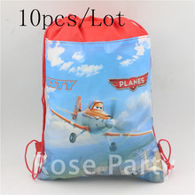 34*27cm Cartoon Drawstring Backpacks Plane Theme Waterproof School Party Bags for Kids Party Birthday Gift Baby shower Supplies