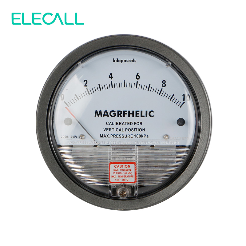 ELECALL 0-10KPA TE2000 Micro Differential Pressure Gauge High Precision 1/8 NPT Round Type Pointer Instrument Micromanometer<br>