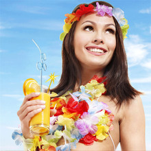 50pcs Hawaiian Flower leis Garland Necklace Fancy Dress Party Hawaii Beach Fun Flowers DIY Party Beach Wedding decoration(China)