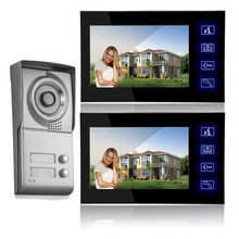 "freeship by DHL 7""Building intercom Apartment Outdoor Station with 2 indoor LCD monitors Wired video door phone system"