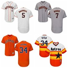 MLB Men's Houston Astros Nolan Ryan Jeff Bagwell Craig Biggio Jersey 34 5 7 Jerseys(China)
