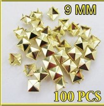 Free shipping,100pcs/lot,9mm,Gold Pyramid Studs Spots Punk Rock Biker DIY Spikes Bag Shoes Bracelet Clothes(China)