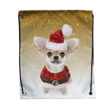 4pcs christmas style red hat clothes chihuahua dog print Outdoor gym Shoes clothing book Storage Bag kids Drawstring Backpack