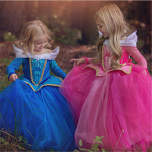 Girls Sleeping Beauty Princess Cosplay Dresses Children Long Sleeve Costume Vestidos 2017 New Hot Kids Gown Dress For Christmas(China)