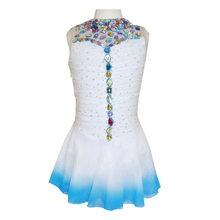 Customized Costume Ice Figure Skating Dress Gymnastics Competition Adult Child Performance White Collar Big Rhinestone Blue