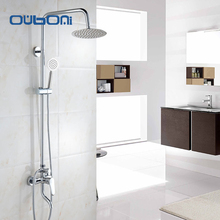 OUBONI Concise Style  Rainfall Shower Head System Polished Chrome Bath & Shower Faucet Bathroom Luxury  Mixer Shower Combo Set