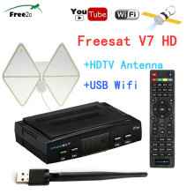 Indoor HDTV Signal Amplifier Antenna 50 Miles Range+ Freesat V7 HD DVB-S2 Satellite TV Receptor Full 1080P+USB Wifi(China)
