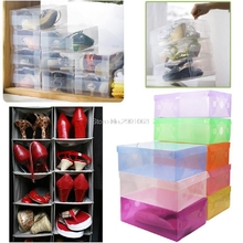 Transparent Shoe Storage Boxes Stackable Foldable Container Organizer H06(China)