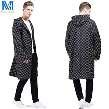 Classic Dot Trench Style Raincoat Men Hooded Rainwear Waterproof Rain Poncho Outdoor Rain Jacket