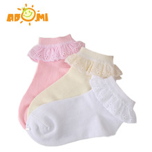 ADOMI New summer Candy Colors Retro Lace Ruffle Frilly Ankle Short Socks Kids Princess Baby Girl Socks Retail one pairs 0-12T