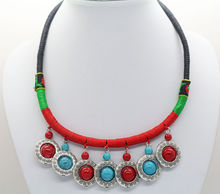 New Ethnic Style Rope Knitted Chain Colorful red Gem Pendant Necklace