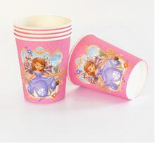 10pcs/lot Sofia Princess Party Supplies Paper Cup Cartoon Birthday Decoration Baby Shower For Kids Girls Boys