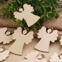 10Pcs/Pack Christmas Tree Deer Snowman Angel Pattern Wood Ornament DIY Xmas Tree Hanging Strips Card Festival Decor(China)