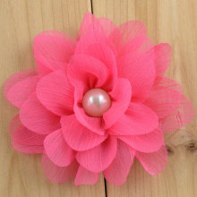 14 color fabric flower embellishment DIY crafts chiffon flower with pearl,hair accessories making headbands flower hair clips
