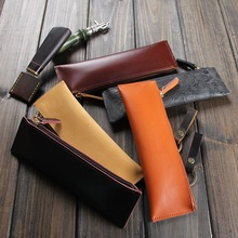 Vintage Genuine Leather Pen Bag Pen Case High Quality Stationery Business Gift