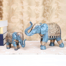 2PCS/set Elephant figurine Resin Crafts Home Office Desktop DIY Accessories Decor Elephant a pair fairy garden animals statue(China)