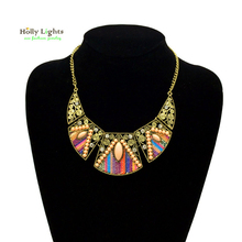 Female boho hippie necklaces&pendants vintage gold-color ethnic collar for women maxi choker bohemia jewellery 2017 accessories