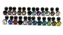 wholesale mixed 24 colors dumbbell earrings tongue men punk fashion titanium black gem stone ball stud earrings