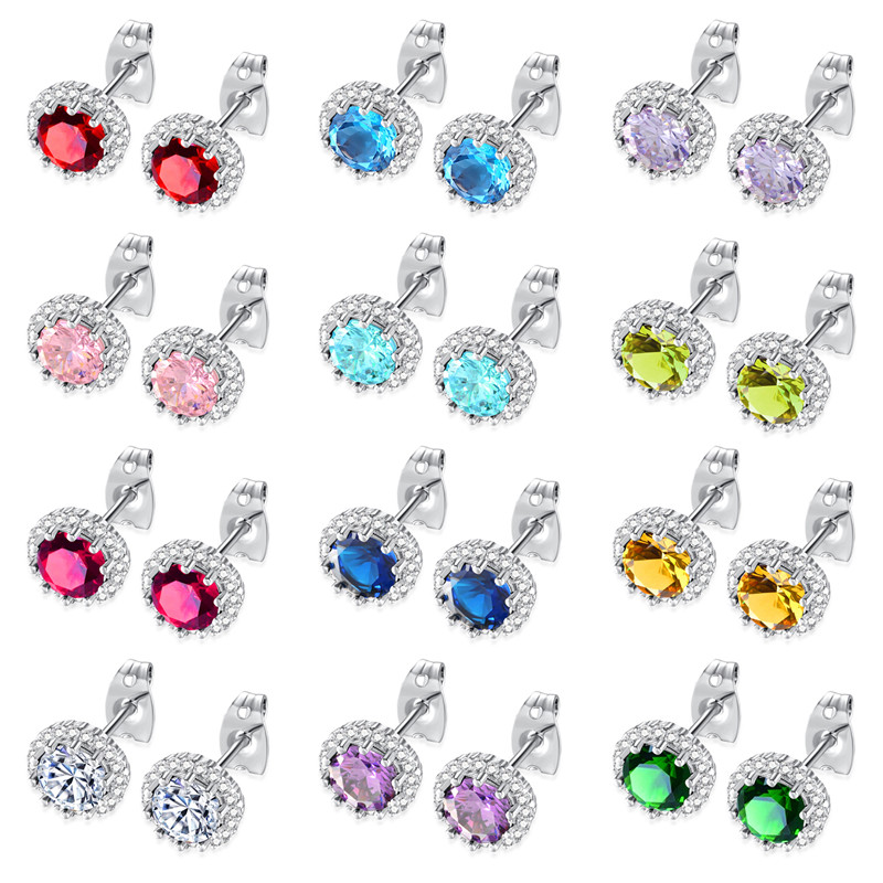 Round Wholesale Earrings Mix Lots Colorful AAA Cubic Zirconia Earrings for Women 2017 Christmas Jewelry 12 pieces 1 set Earrings