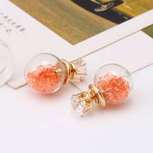 2017 New Design Fashion Brand Jewelry Glass Flowers Crystal Stud Earring Double Side Pearl Summer style Daisy earrings for Women