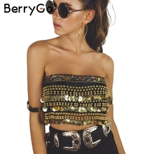 BerryGo Tassel beading velvet top tees Summer 2017 lace up punk crop top women Sexy gold sequin tank top coin chain tube top(China)