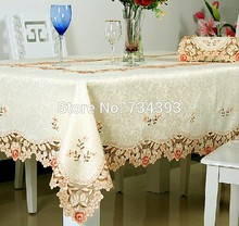 1018 European light-colored flower garden luxury embroidered table cloth fabric coffee table runner tablecloth placemat
