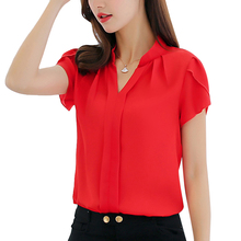 FUNOC Chiffon Blouse Women Short Sleeve Women Tops Femme White Red V-Neck Plus Size 3XL Casual Solid Blouses 2017 Office Ladies