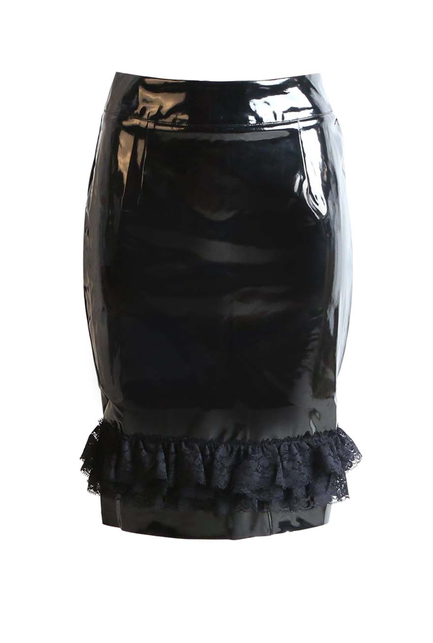 Fashion Black PVC Skirt Vinyl Latex Skirts Lace Sexy PVC Pencil Skirt Back Zipper Dancing Club Wear( Latex)