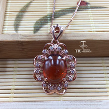 TBJ, 100% Natural spessartine Garnet fenda good color gemstone pendant in 925 sterling silver fine jewelry with gift box(China)
