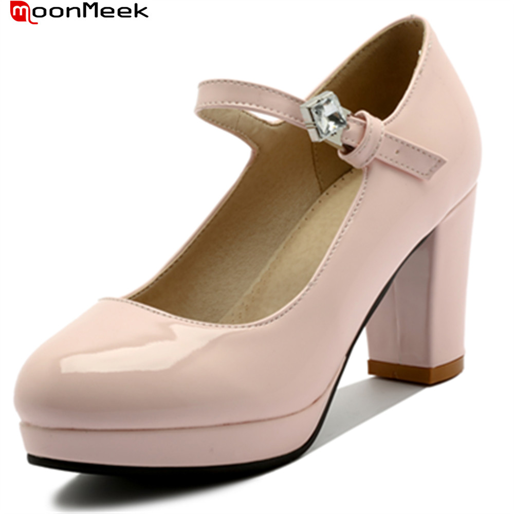 MoonMeek 2018 female platform shoes with crystal buckle round toe high heels square heel pink color pumps women shoes<br>