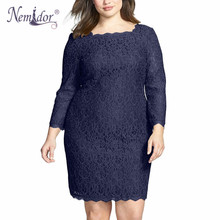 Nemidor Women Summer Elegant 3/4 Sleeve Retro Stretchy Knee Length Cocktail Bodycon Dress Casual Party Plus Size Lace Dress(China)