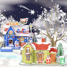 Merry Christmas DIY 3D Puzzle Money Box New Year Cartoon House Puzzle Christmas Decorations for Home Noel Xmas Gifts to Children