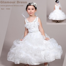 Wholesale 2016 New White Flower Girl Dresses Organza With Beading First Communion Dress For Girls Teenagers Plus Size 14 1586