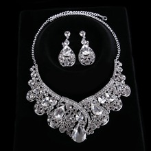 High Quality Women Tiara Hairwear Crown Earrings Set Crystal Glass Crown&Earrings Fashion Bridal Jewelry Sets CY161117-124