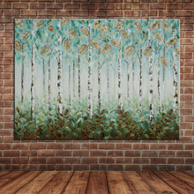 Golden Foil Tree Leaves Oil Painting Blue Mountain Wall Picture Decals Modern Large Canvas Art Decoration (No frame )
