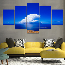 5 Panel Wall Art Blue Sky Landscape Painting On Canvas Abstract Paintings Pictures Decor Paintings Renovated Room Canvas Print