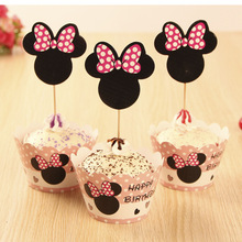 24pcs/lot Birthday Decorations Cupcake Wrappers and Topper colorful blue Mickey pink Minnie mouse Theme For Kid Birthday Party