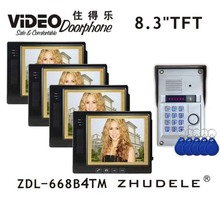 "ZHUDELE Best 8.3"" Display Wired Video Door Phone Touch button Doorbell Intercom & IR HD CCD Camera Password&ID Card unlock 1V4(China)"
