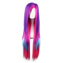 MCOSER 80cm Long Straight Cosplay Rainbow Multi Color Synthetic Hair Wig 100% High Temperature Fiber WIG-286(China)