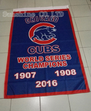 Chicago Cubs World Series 1907 1908 2016 Champions Flag 3X5FT 90x150cm Sport Outdoor Custome Flag Banner brass metal holes CC3