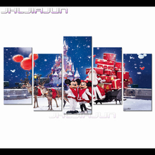 Christmas Home Decoration print Venice Cartoon Child room decor Nordic 5 piece canvas art painting movie posters Modular picture