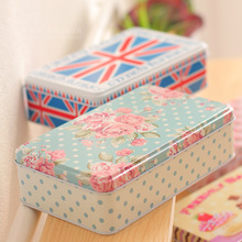 NEW Office stationery desktop boxes postcard zakka tin box biscuit boxes/pencil case/iron box 193X115X54MM TH15110801 1pcs/set