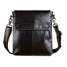 Vintage Genuine Leather Bag Men's Messenger Bag Shoulder Bags Vertical Flap Business&Casual Zipper Bag For Ipad Dark Coffee