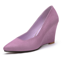 Low Price 8cm Brand 2016 Women Sex High Heels Shoes Wedge Pointed Toe Pumps Closed Toe Wedge Shoes for Women LK6005
