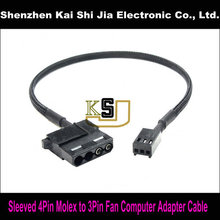 Black Sleeved Computer Fan D Type 4Pin Molex Female to 3 Pin Fan Female Adapter cable - 30cm(China)